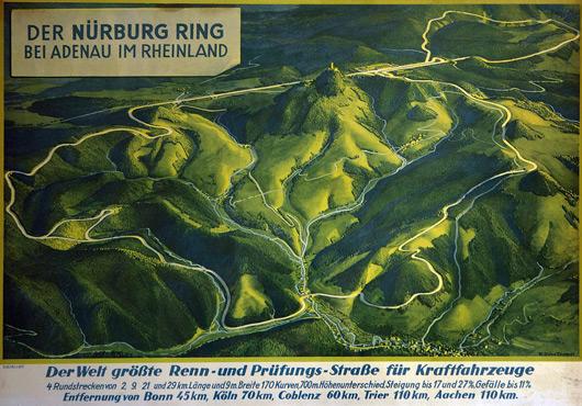 3D style vintage Nurburgring map