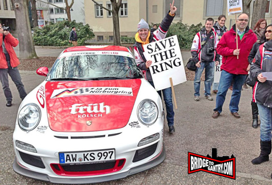 Sabine Schmitz supporting Save the Ring rally