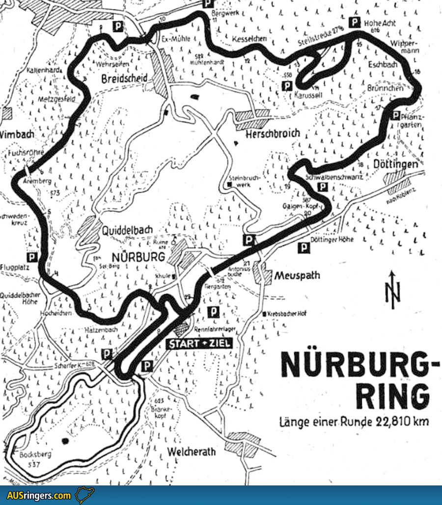AUSringers.com  Vintage Nrburgring map (including Sdschleife)